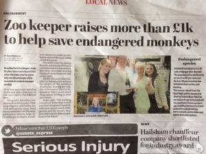 The charity quiz night was covered by local press, spreading awareness to an even wider audience. | Penggalangan dana melalui Quiz Night ini diliput koran lokal dan menyebarkan pesan konservasi ke masyarakat yang lebih luas.