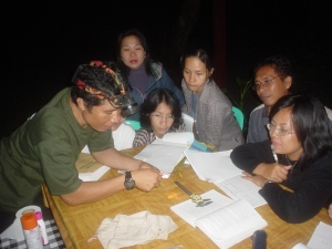 Identifying bats during a field trip with Masters students from the Environmental Biology Program, UNIMA. C.A. Tangkoko, 2009. | Identifikasi kelelawar dalam praktek lapangan mahasiswa S2 Biologi Lingkungan UNIMA. C.A. Tangkoko, 2009