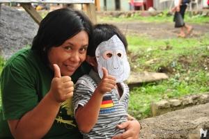 Yunita at the Selamatkan Yaki information stand in Langowan!