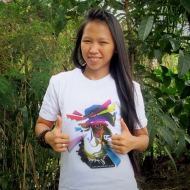 """Meet Reyni! Our programme secretary! Reyni loves contributing to yaki conservation because """"... they really need to be saved from extinction so our next generation will be able to see Yaki as the heritage of the nature of North Sulawesi. I also want to inspire people contributing to conservation as i got inspired by the hard work of Selamatkan Yaki!"""""""