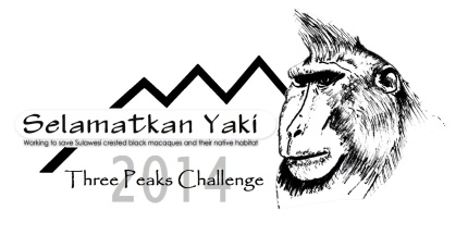 All expedition members are wearing T shirts with this logo: Selamatkan Yaki – Three Peaks Challenge 2014