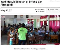 Aktivitas sosialisasi di SMA-SMA di Bitung dan Airmadidi oleh tim Selamatkan Yaki di Berita Manado bulan mei 2015